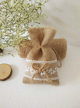 free shipping DIY handmade Jute bag wedding lace candy Branch leaf Bow