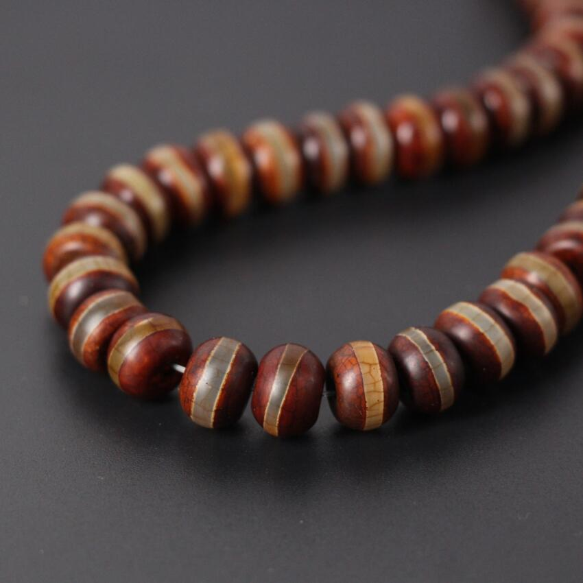 Single Line Beads: 2Strands/Lot,Brown Vintag Crack Tibetan Onxy One Line Dzi
