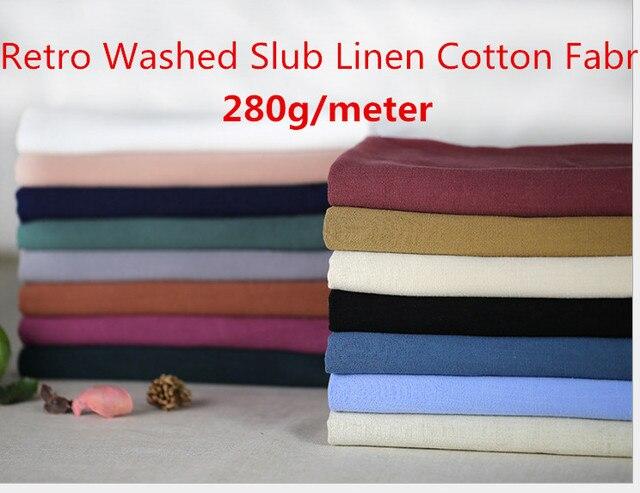 9f15aa1d0557 Retro Washed Slub Linen Cotton Fabric Organic Flax Cloth Soft Summer  Dressmaking Shirt Pants Pajama Cloth