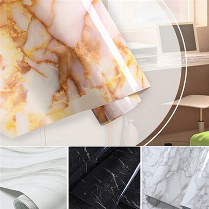 Multi Functional Glossy Marble Diy Vinyl Decorative Film