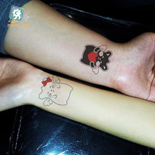 6 Different Hot Selling Cartoon Tattoo Waterproof Temporary Cat Designs Funny Black Stickers