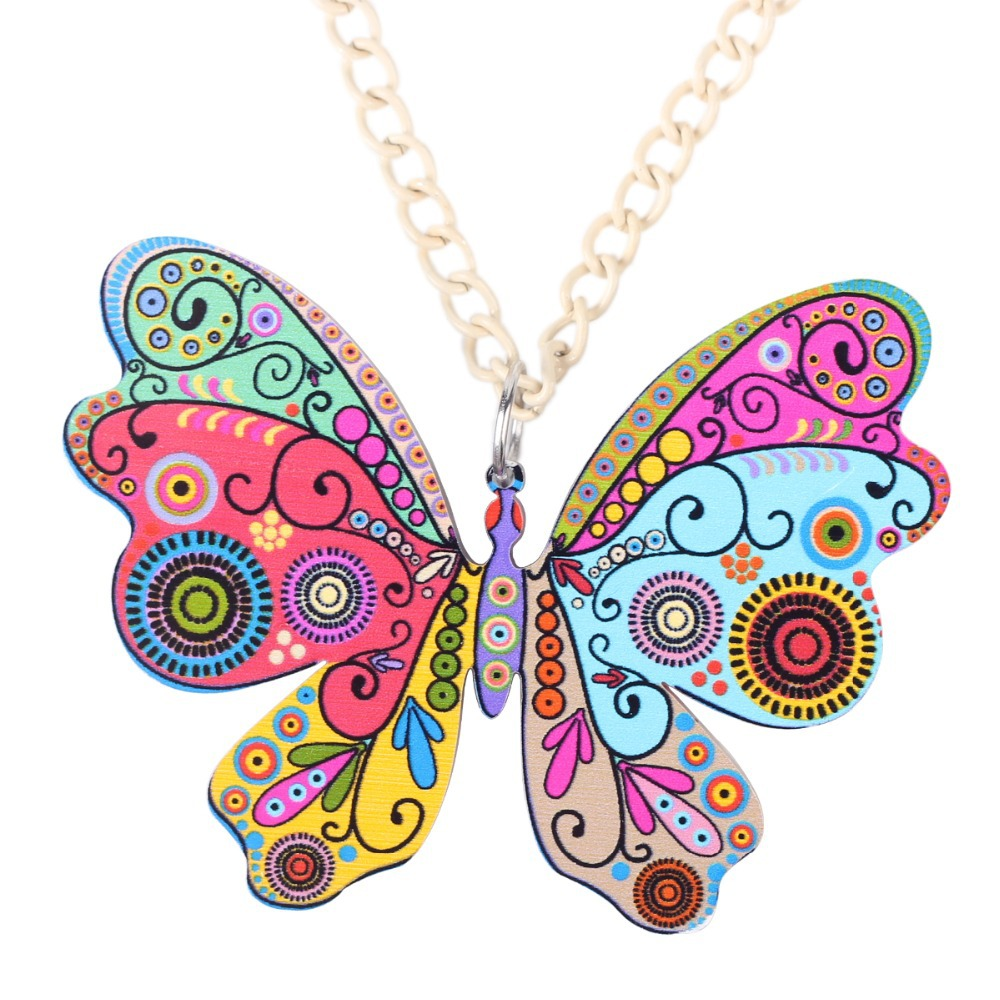 Bonsny Butterfly Necklace Pendant Long Acrylic Pattern Hot  Novelty Jewelry For Women Spring Charm CollarAnimal Decoration