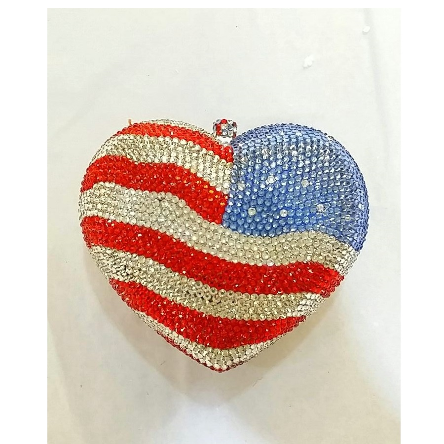 ФОТО 7706-USA flag Crystal Heart Lady Fashion Bridal Party Night Metal Evening purse handbag case box clutch bag