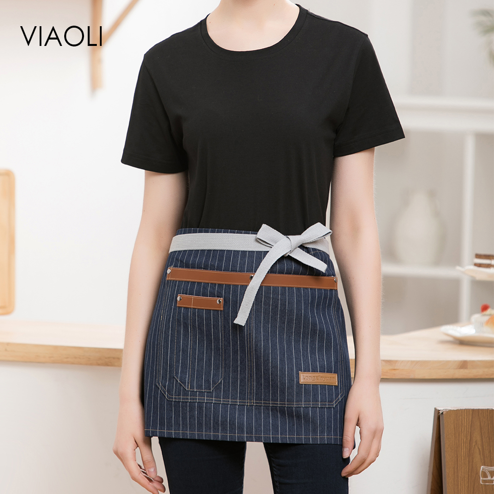 Denim Aprons For Women Men High Quality Wholesale Unisex Kitchen Hotel Coffee Shop Bakery Chef Waiter Cleaning Apron Waitress