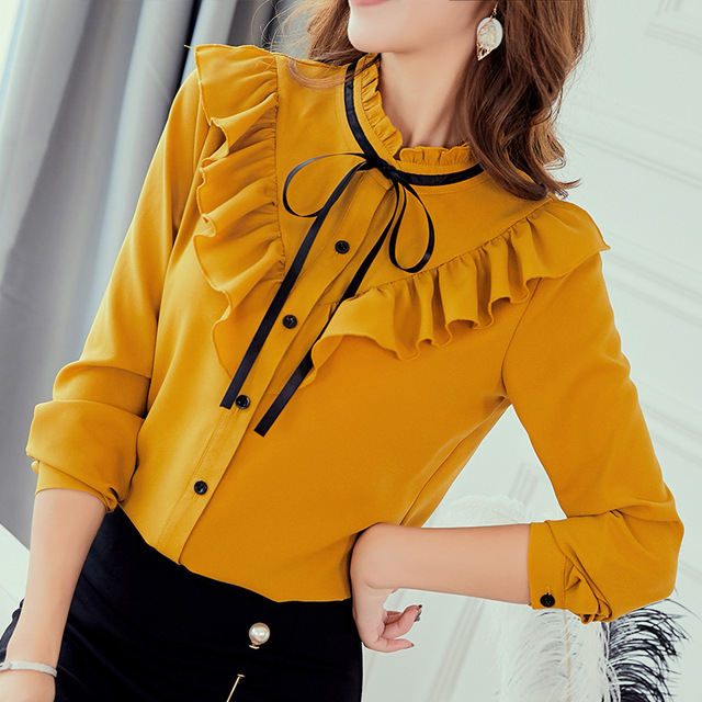 Lente Herfst 2019 Vrouwen Wit Shirt Lange Mouwen Koreaanse Ruches Vrouwen Streetwear Slim Chiffon Blouse Elegante Dames Tops