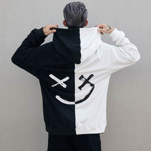 Patchwork Hoodies Sweatshirt Jumper Pullover Face Long-Sleeve Happy-Smiling Print Mens