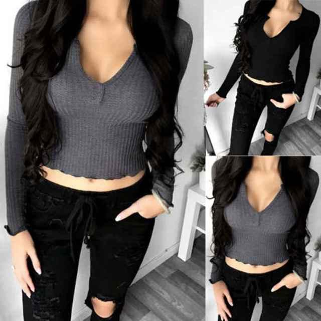 12fc1d44c2d60d Fashion Women Off Shoulder Crop Short V Neck Tights Top Casual Long Sleeve  Shirt Cotton Blouse