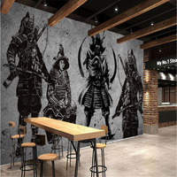 Beibehang Large Custom Wallpapers Vintage Handmade Japanese Samurai Cement Walls Japanese Restaurant Mural Background Wall