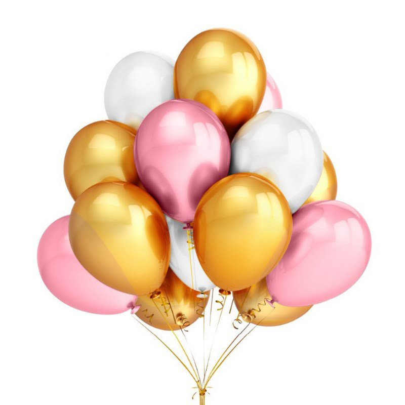 2018 Rushed 10pcs 12 Inch Gold Pink White Latex Balloons Inflatable Balloon Helium Wedding Happy Birthday Party Decoration Air in Ballons Accessories from Home Garden