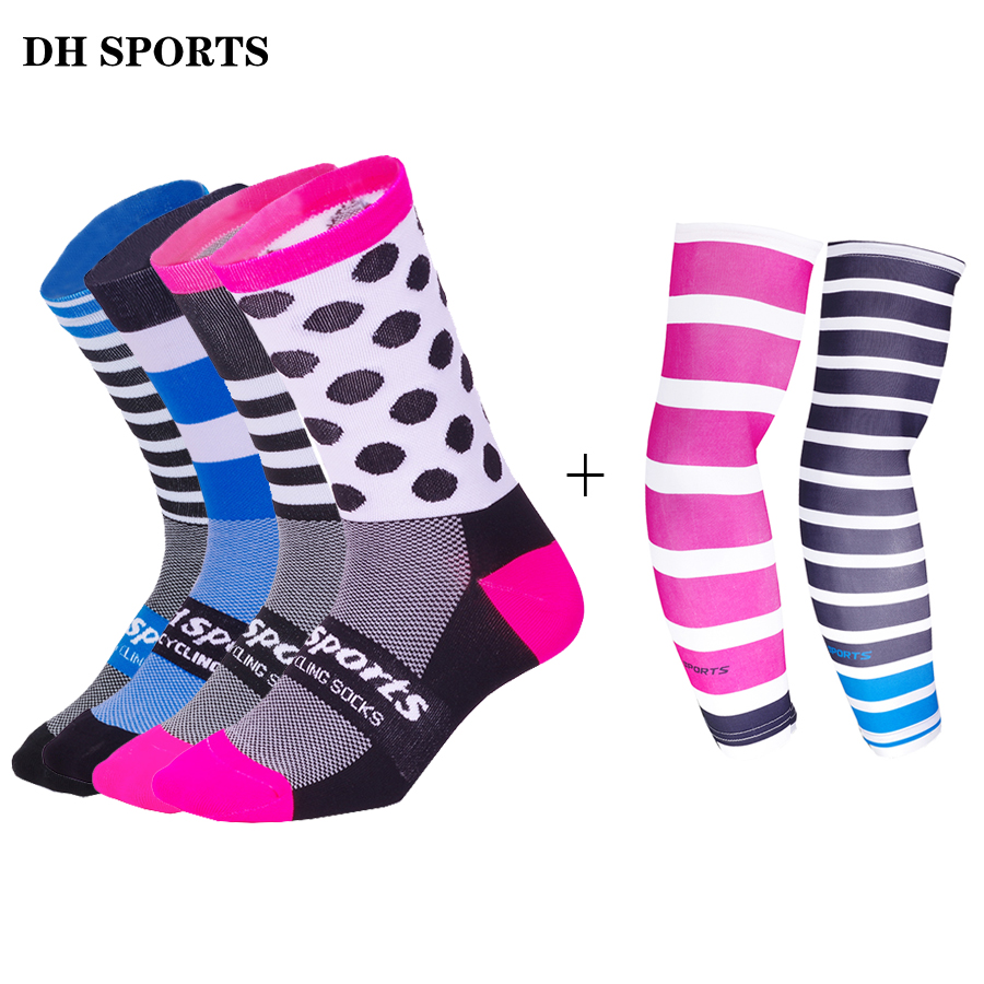 DH SPORTS Cycling Socks With Arm Warmer Men Women Professional Bicycle Socks Compression Ridding Socks Running Sport Arm Sleeve soumit 5 colors professional yoga socks insoles ballet non slip five finger toe sport pilates massaging socks insole for women