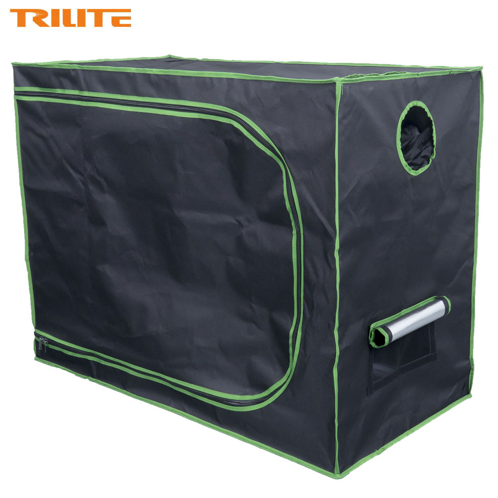 """TRILITE 120x60x90cm Mylar Hydroponics Grow Tent with Observation Windows and Floor Tray for Indoor Plant Growing 48""""x24""""x36""""