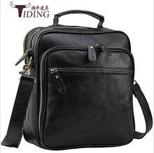 Купить с кэшбэком men genuine leather handbags 2018 new male black vintage fashion dress casual small shoulder crossbody travel bags dropshipping