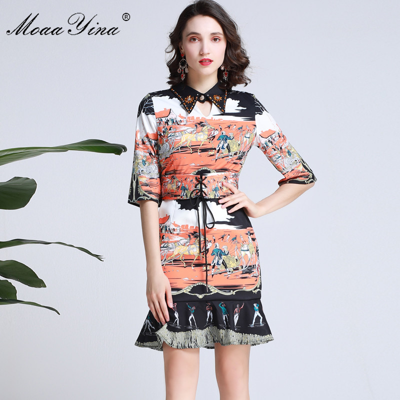 MoaaYina Fashion Designer Runway dress Spring Summer Women Dress Half sleeve Beading Character Print Lace-up Mermaid Dresses