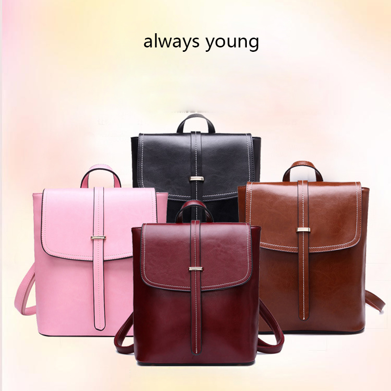 2017 Preppy Style Oil Wax Cowhide Fashion Bag Genuine Leather Cover Solid Color Lady Large Capacity Backpack Student Luggage Bag tiding luxury genuine leather solid black color backpack vintage style student bag travel luggage bag backbag