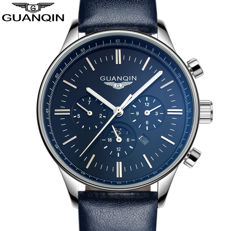 GUANQIN Watch Men Date Luminous Quartz Watch Mens Watches Top Brand Luxury Sport Leather strap band