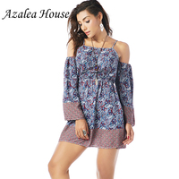 Azalea House Sexy Women Flare Dress National Style Long Flare Sleeve Print Women Straped Dress Mini