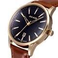 Relógios novos dos homens Top Marca De Luxo 30 m Impermeável Ultra Fino data Relógio Masculino pulseira de Couro Casual Relógio de Quartzo Dos Homens Do Esporte relógio