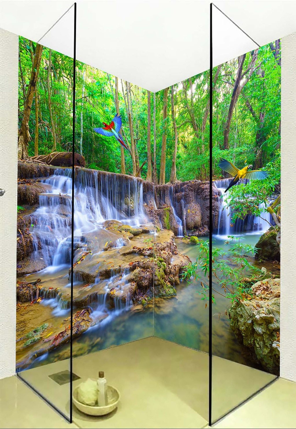Large 3d wall stickers landscape waterfall parrot shower for Large 3d wall art
