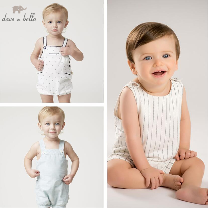 DB5082 dave bella summer new born baby cotton romper kids infant romper childs lovely rompers 1 pc children romper kids ruffle tie neck striped romper