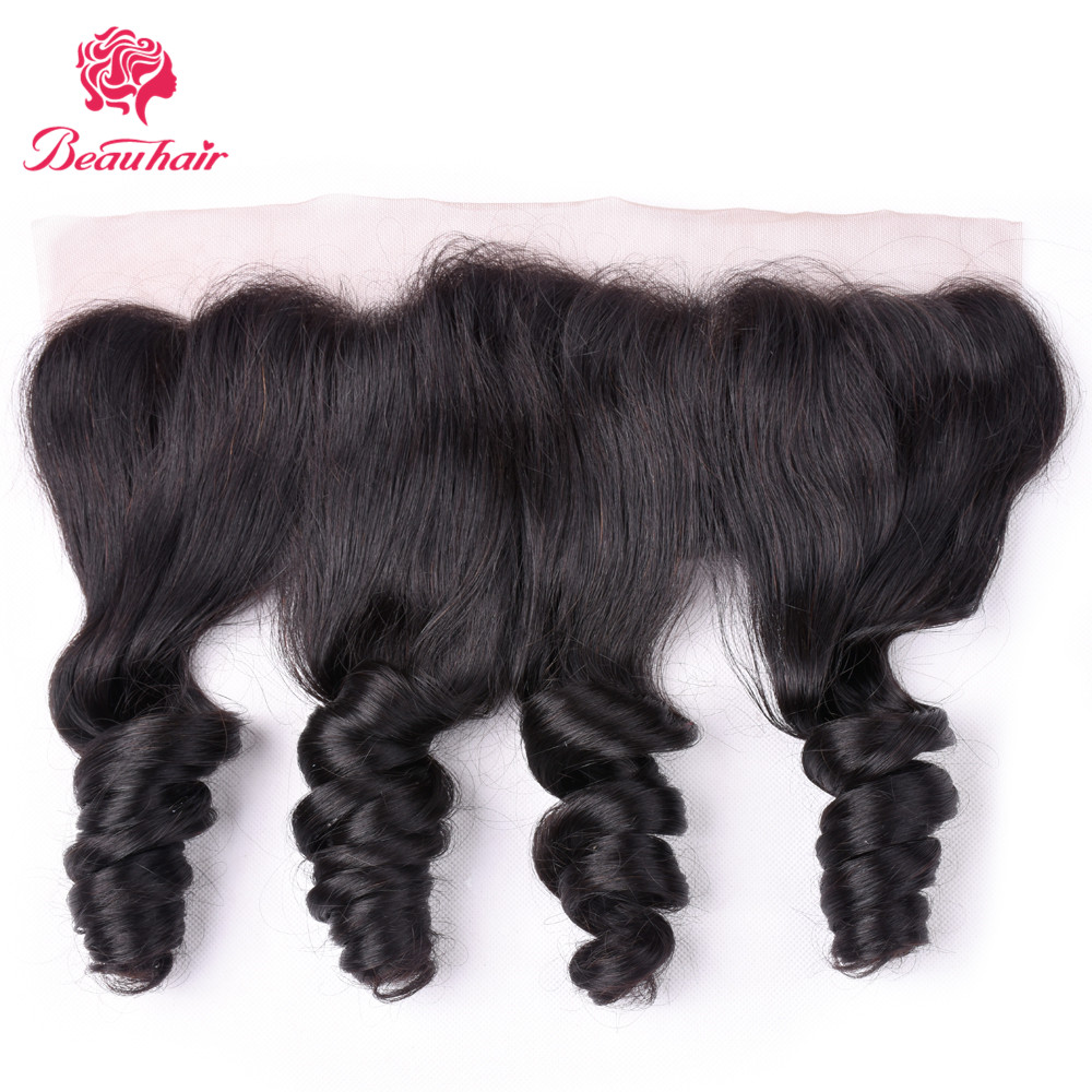 Human Hair Lace Frontal 13x4 Loose Wave Lace Frontal Brazilian Human Hair Non-Remy Natural Color Pre-plucked With Baby Hair