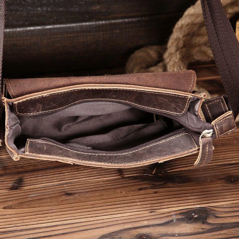 Мужские сумки Crazy Horse, натуральная кожа, винтажные сумки через плечо для мужчин, IPAD, сумка мессенджер, деловая мужская сумка через плечо, мужс... - 4