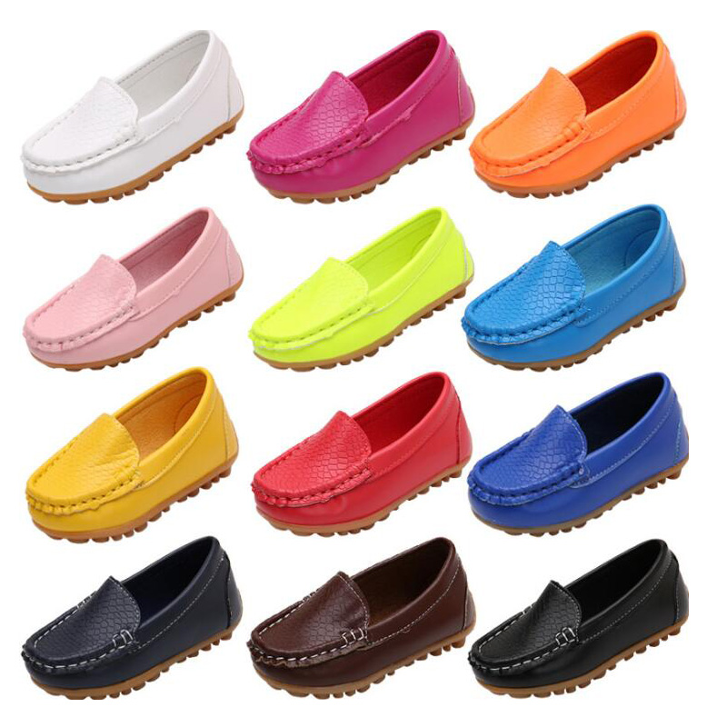8 Colors Unisex Kids Shoes All Seasons Boys Loafers Soft PU Leather Moccasins Girls Shoes Size 21-37 7HW0336