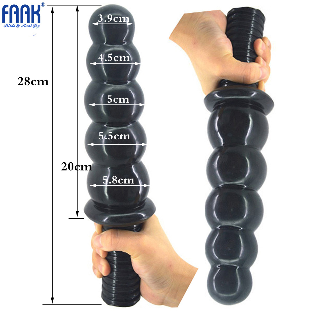 FAAK 28 CM Long Anal Plugs 5.8 Dia Butt Plugs With 5 Huge Beads Handles Adult Anal Sex Toys For Man Women Sexuales Dropshipping