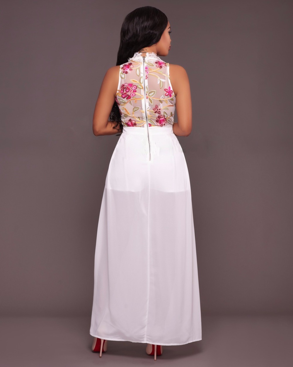 84d6f29b7 Las nuevas mujeres 2017 flor bordada Vestidos elegante malla de gasa largo  eving vestido Bayan vestidos fiesta zomerjurkje vestido de Club en Vestidos  de La ...