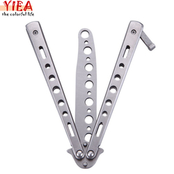Stainless steel butterfly flail folded knife toys balisong trainer training knife silver free shipping.jpg 250x250