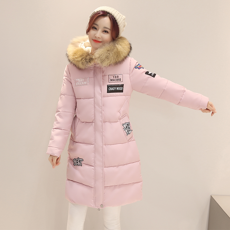 ФОТО Genuine Fur Collar Women Coat Winter Thick Warm Ladies Hooded Jacket With Patch Design Ladies Slim Down Parkas Quilted Outfit