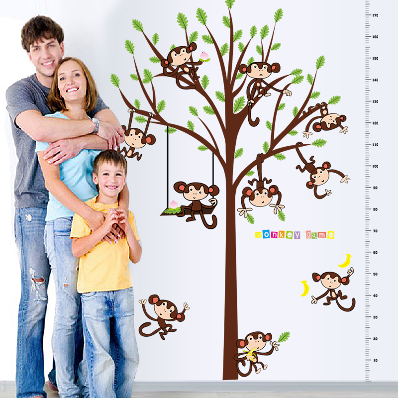 1 set 49*71 Inch Removable PVC Decals Cartoon Tree and Monkey Kids Height Decals For Child Bedroom Wall Decoration SK2006