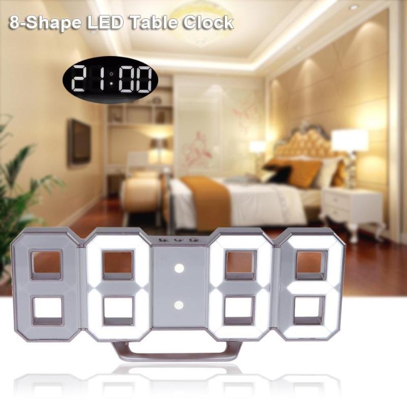 Modern Wall Clock 3D Digital LED Table Clock Watches Display clock mechanism Alarm Snooze Desk Alarm Clock