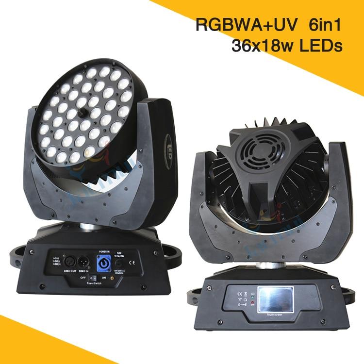 2Pcs/Lot 36*18W Led Zoom Moving Head Lights RGBWA UV 6in1 Led Wash Moving Light Mini Lighting