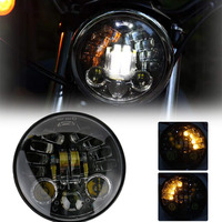 70W 5.75 Inch Projector Daymaker Headlight White DRL Yellow Turn signal lights For Harley Yamaha V Star XVS 250 650 950 FXDX