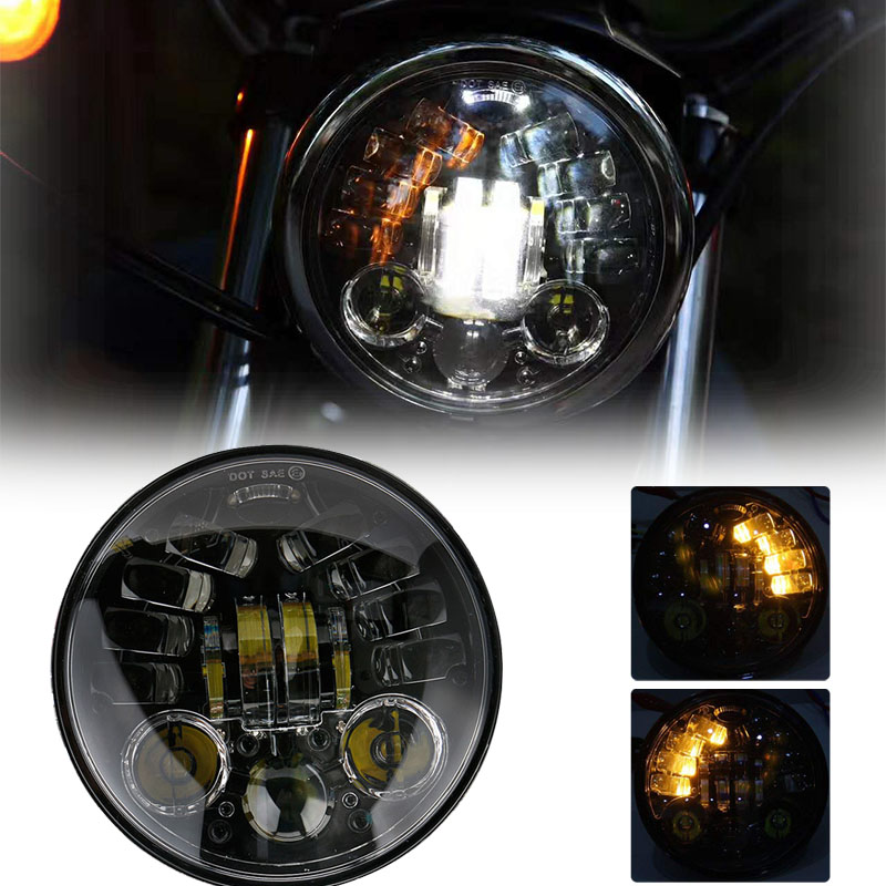 70W 5.75 Inch Projector Headlight White DRL Yellow Turn Signal Light For Harley Davi Men Dson Yamaha V-Star XVS 250 650 950 FXDX