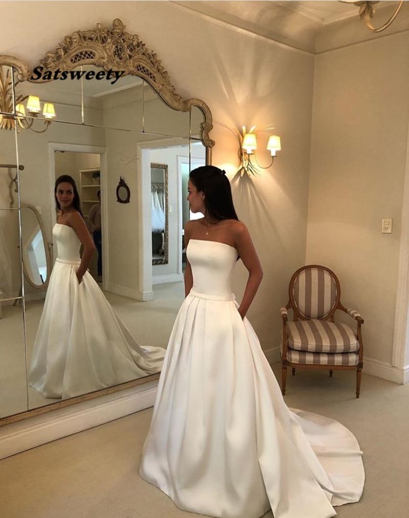 Top qualité Simple Boho a-ligne robes De mariée sans bretelles Satin drapée robe De mariée arc ceintures Vestidos De Noiva robes De mariée