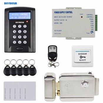DIYSECUR Remote Control Electric Lock LCD 125KHz RFID Reader Password Keypad Access Control Door Lock System Kit Security System