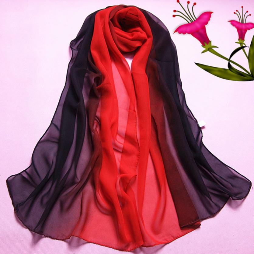 KANCOOLD Scarves New High Quality Chiffon Fashion Lady Gradient Color Long Wrap Shawl Scarves Women Chiffon Jan25
