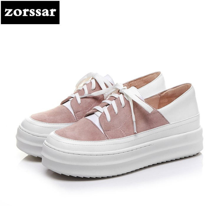 {Zorssar} Genuine Leather fashion womens shoes casual flat shoes high quality Women sneakers platform Casual Flats Loafers shoes