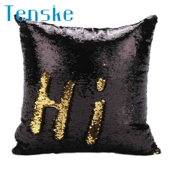 Fashion Heaven New  DIY Two Tone Glitter Sequins Throw Pillows Decorative Cushion Case Sofa Car dropshipping Free Shipping Nov16