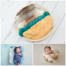 Newborn Photography Props Faux Fur Blanket Baby Photo Shoot Session Backdrops Fabric Posing Basket Filler fotografia Accessories цена и фото
