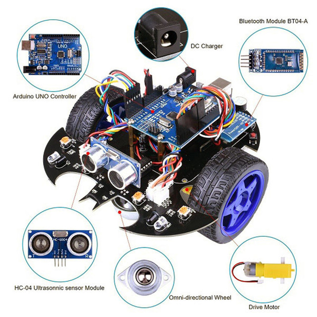 US $151 98 |New YahBoom Smart Bat Robot Intelligent Programming bluetooth  Control Car Kit with for Arduino R3 Board Kids Science Educate-in Parts &