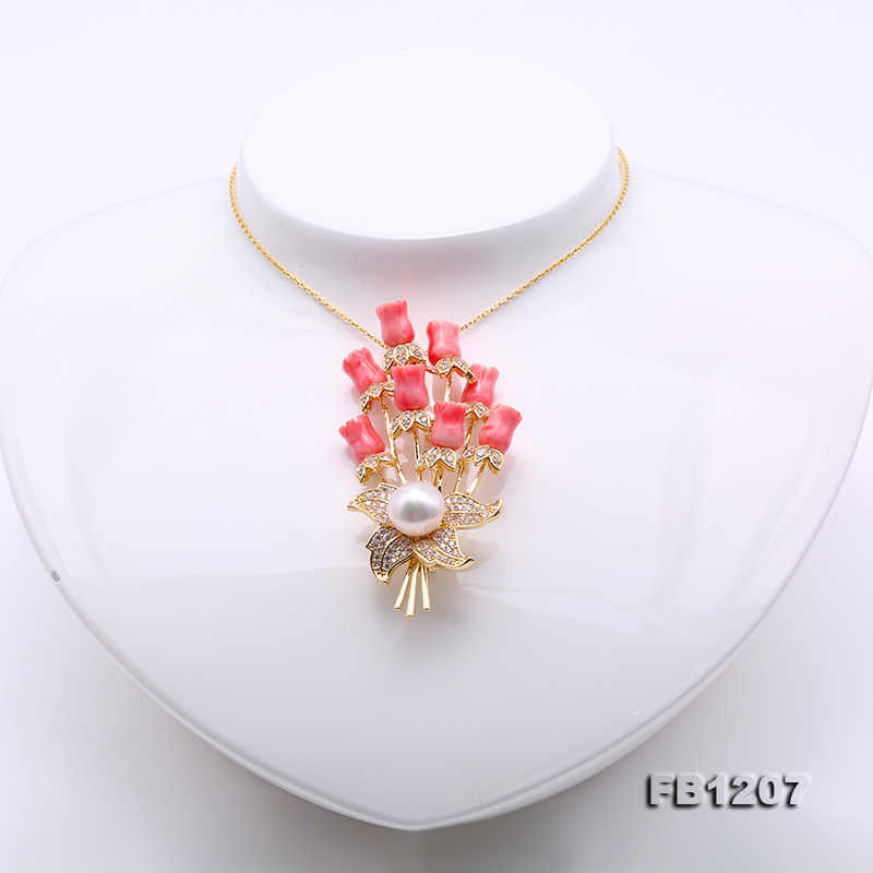 4a7fcd4eac4 ... JYX Fine Women Brooches coral Pin with 10.5mm natural White Freshwater  Pearl coral brooch elegant