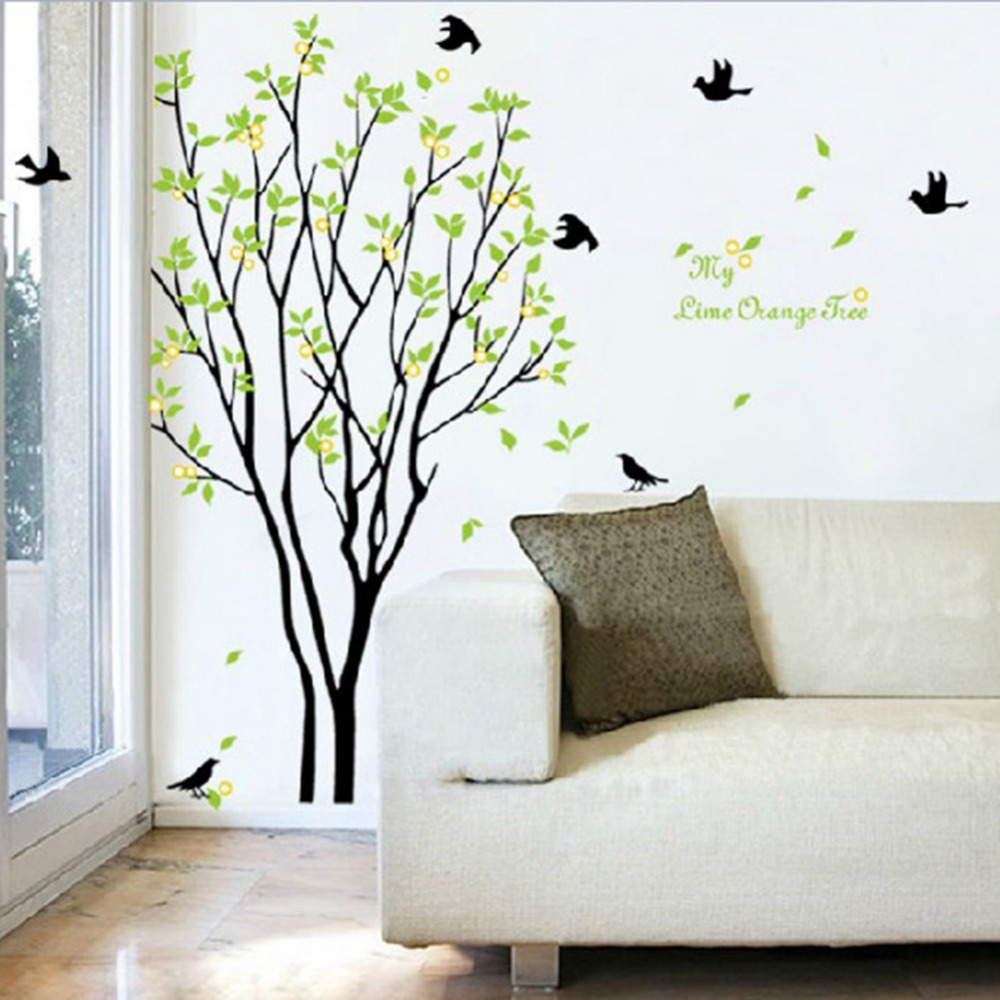 Removable huge birds sing on the tree wall stickers home living removable huge birds sing on the tree wall stickers home living room kids room decorations decals in wall stickers from home garden on aliexpress amipublicfo Images