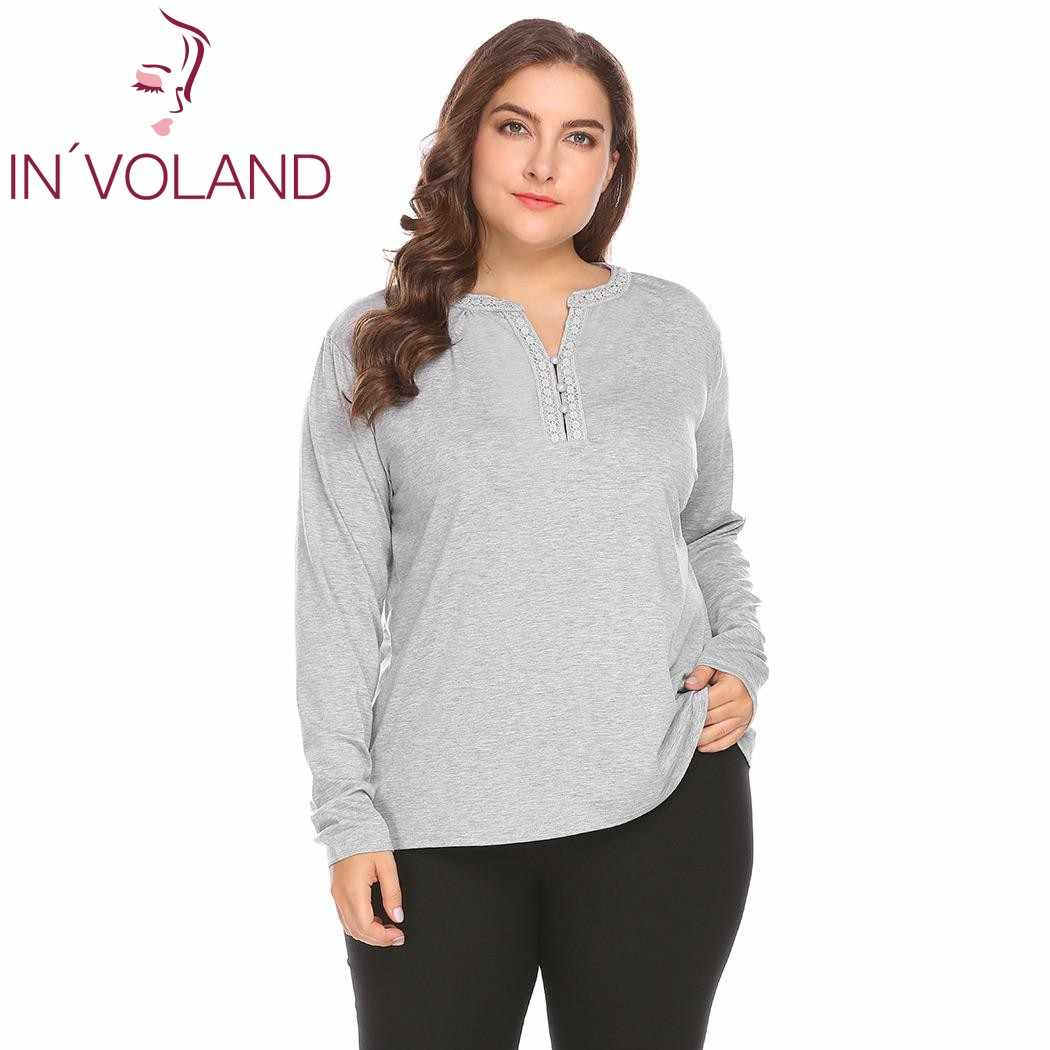 IN'VOLAND Women T-Shirts Plus Size XXL-5XL Casual Spring Autumn Solid Long Sleeve Lace Patchwork Casual Tshirt Female Tee Tops