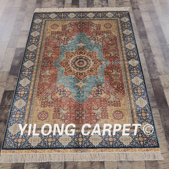 Yilong 4 X6 Silk Persian Hand Knotted Rug Oriental Knitted For