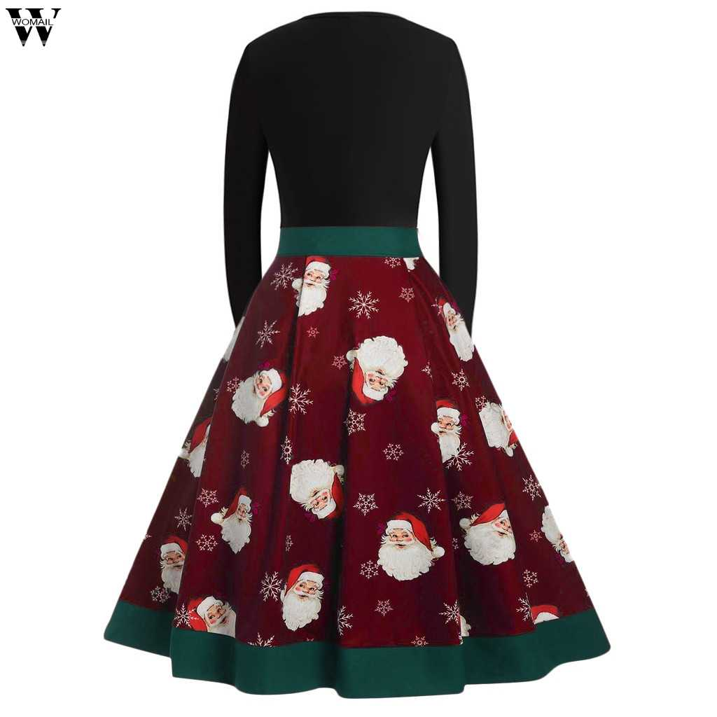 f1fd36b7295 ... Winter Christmas Dresses Women Vintage Robe Swing Pinup Elegant Party  Dress Long Sleeve Casual Plus Size ...