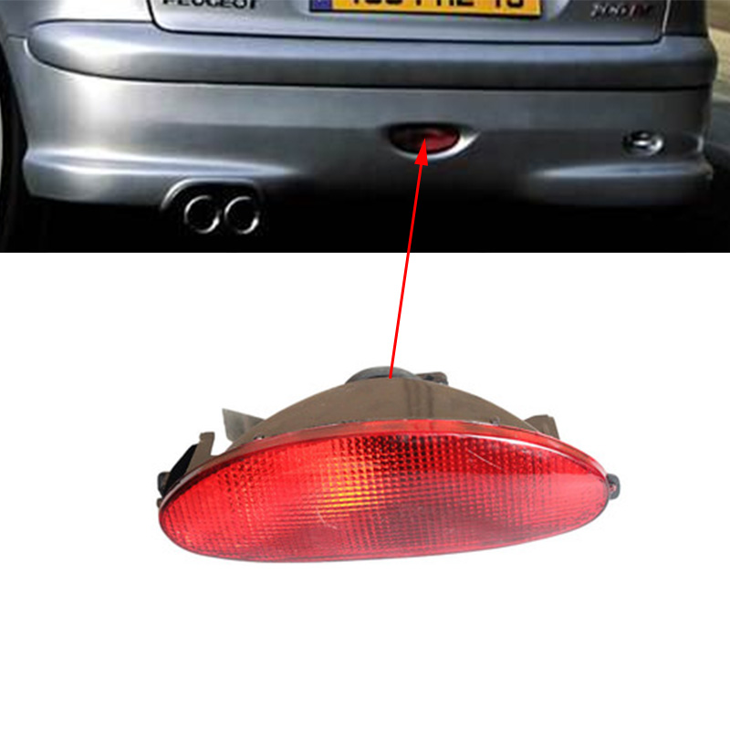 Car Accessories  Tail Middle Bumper Fog Light Lamp For Peugeot 206 Rear Bumper Lights Bar Rear Bumper Reflector Warning Lamp