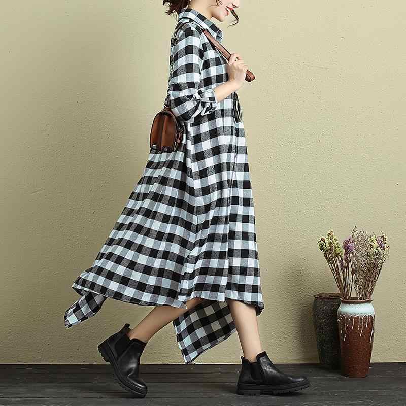 ZANZEA мода Vestido с длинным рукавом клетчатая рубашка Платье До Колена женские осенние Повседневное плед Асимметричная Хем негабаритных кафтан