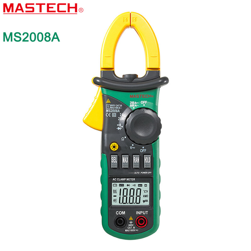 MASTECH MS2008A Digital Multimeter Amper Clamp Meter Current Clamp Pincers AC Current AC/DC Voltage Resistance Tester auto digital clamp meter mastech ms2108a pincers ac dc current voltage capacitor resistance tester aimometer multimeter amper